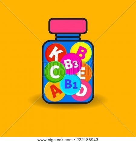 Bottle of vitamins. Icon supplements, vitamin complex. Vector illustration