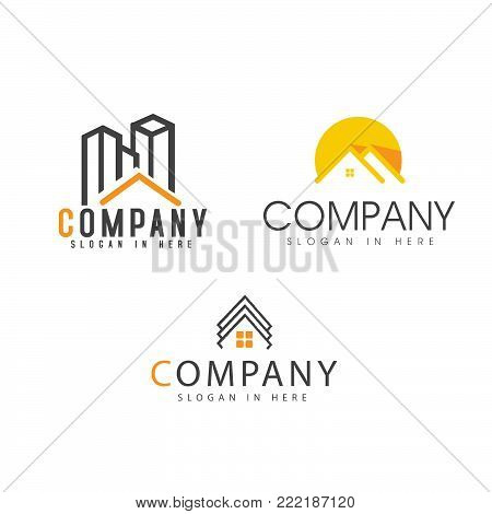 Set of real estate vector concept logo. Home with window and chimney, simple house symbol, skyscrapers or arrows on the square background