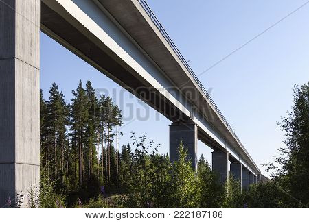 The Bothnia Line Nyland to Umea.  Modern, newly built High-speed railway. Seen from below, forest in the surrounding.