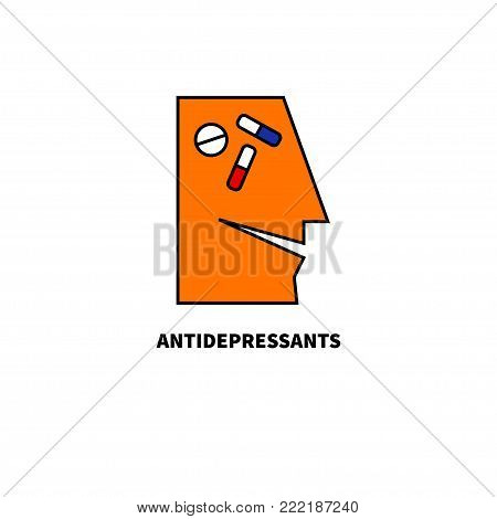 Icon antidepressants. Treatment of depression. Smiling man with pills and tablets in head. Vector illustration