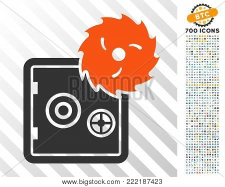 Break Banking Safe pictograph with 700 bonus bitcoin mining and blockchain pictographs. Vector illustration style is flat iconic symbols design for blockchain websites.