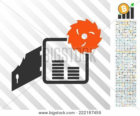 Broken Bank Safe pictograph with 7 hundred bonus bitcoin mining and blockchain pictograms. Vector illustration style is flat iconic symbols design for bitcoin software.