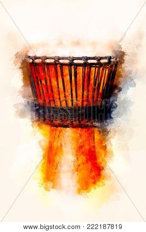 Original african djembe drum with leather lamina and softly blurred watercolor background
