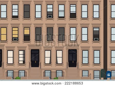 Brownstone old Manhattan New York city building vector illustration in flat style
