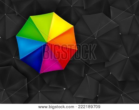 One Colored Umbrella And Background Of Many Black Umbrellas