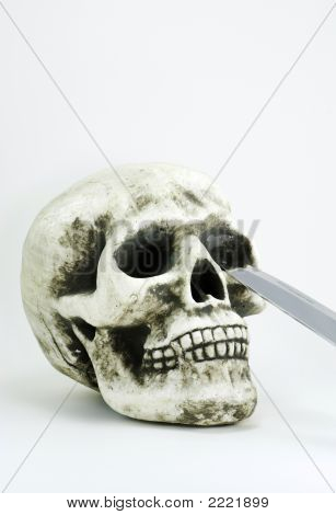 Skull With A Knife Blade