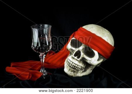 Skull With The Glass Of Wine