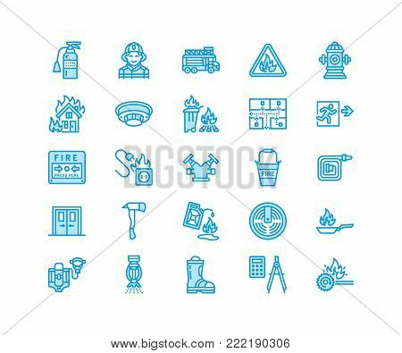 Firefighting, fire safety equipment flat line icons. Firefighter car, extinguisher, smoke detector, house, danger signs, firehose. Flame protection thin linear pictogram. Pixel perfect 64x64.