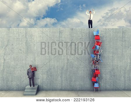 successful man found smart solution to solve wall problem business concept image