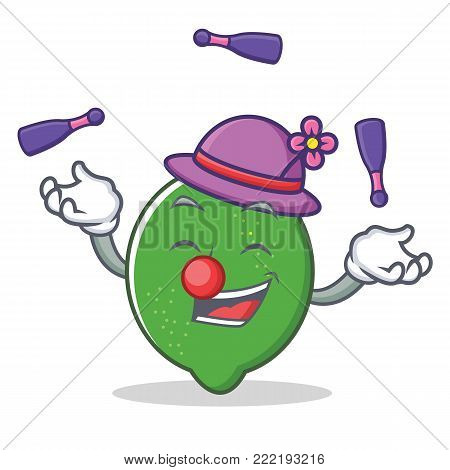 Juggling lime mascot cartoon style vector illustration
