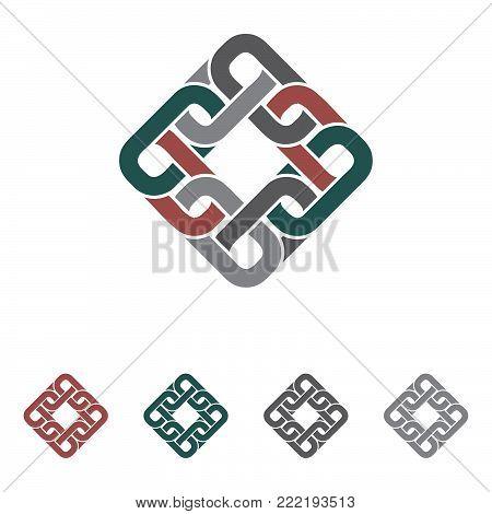 interlock and connecting round corner chain logo
