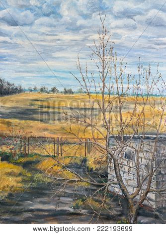 Painting. Autumn rural landscape. Yellow field and cloudy sky