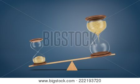 3d rendering of a wooden seesaw with two hourglasses, where a small piece overweighs a large one. Now better than future. Promises against facts. Choose to profit today.
