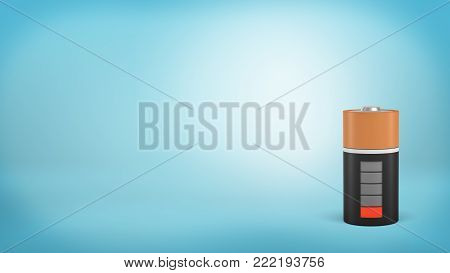 3d rendering of a single large orange and black battery with a low red charge indicator stands on a blue background. Low energy level. Last strength. No energy to spare.