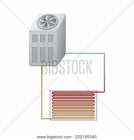 The outdoor unit of the chiller. The evaporator and condenser. Vector illustration. Air-conditioning system.