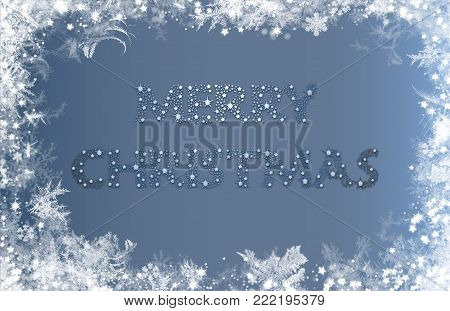 Merry Christmas. Silvery star text on silvery grey background with snowy frame