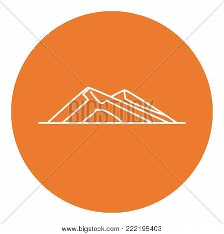 Sloping hills icon in thin line style. Low mountain symbol in round frame.