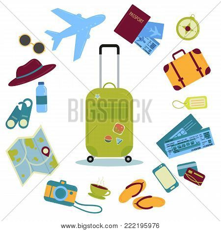Set of travel icons. Traveler suitcase with stickers and icons. Bag, map, camera, tickets, phone, hat, airplane, compass and other. Vector objects isolated on white