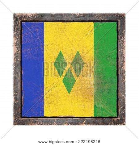 3d rendering of a Saint Vincent and the Grenadines flag over a rusty metallic plate in an old frame. Isolated on white background.