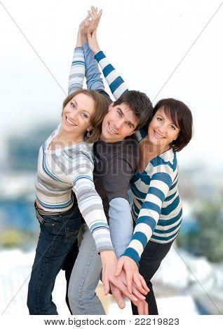 three friends having fun