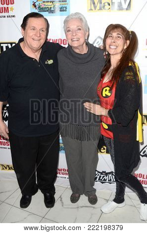 LOS ANGELES - JAN 10:  Burt Ward, Lee Meriwether, Tracy Posner at the Batman '66 Retrospective and Batman Exhibit Opening Night at the Hollywood Museum on January 10, 2018 in Los Angeles, CA