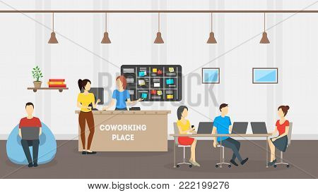 Cartoon Coworking Place Card Poster Creative Work Room and People Concept Flat Design Style. Vector illustration of Workplace Interior