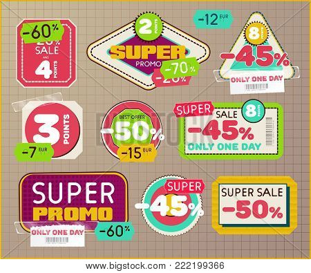 Set of vintage retro labels and tags with Scotch tape and price tag. Sale and Discount badges for super promo. Vector eps10
