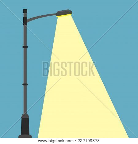 Street lighting flat banner. City night street light with light from streetlight lamp. Outdoor Lamp post in flat style. Spotlight Vector illustration