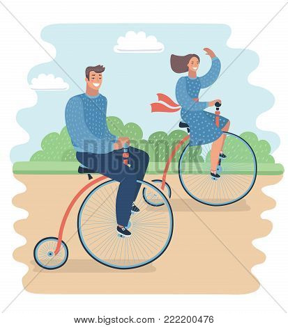 Vector cartoon illustration of Happy valentines love story concept of a romantic couple. Male riding his girlfriend on a vintage retro penny-farthing bicycle in the park.