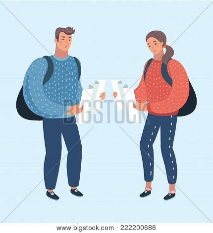 Vector cartoon illustration of couple of lost people travelers with maps. Funny human characters on isolated background.