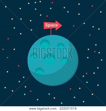 Blue planet with sign. Flat deign element