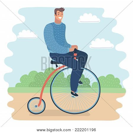 Vector cartoon illustration of man riding a penny-farthing bicycle in a park with.   Modern guy on retro vintage old bicycle on nature landscape.
