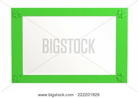 Blank green, plastic frame with three leaf clovers at the corners isolated on white background. 3d rendering