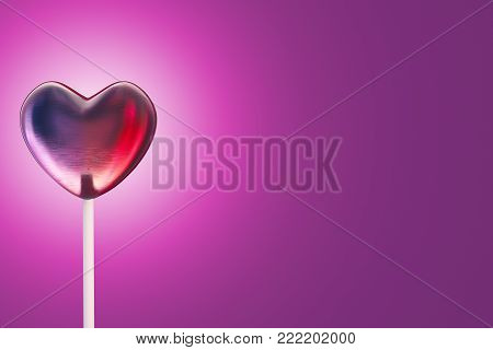 Lollipop candy in heart shape on dark pink backgroud with copy space. 3d rendering