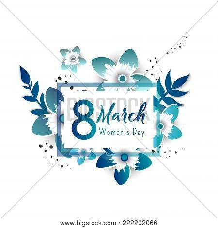 Color flyer for March 8 with the decor of paper cut flowers.Happy Women's Day. Trendy Design Template. Vector illustration