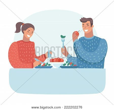 Vector cartoon illustration of husband and wife having dinner at the table. Family. Vegetarianism. Sweet couple, romantic date. Healthy diet. Funny human characters on isolated background.