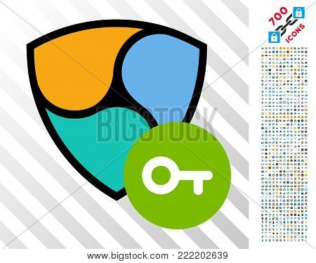 Nem Key icon with 7 hundred bonus bitcoin mining and blockchain images. Vector illustration style is flat iconic symbols design for blockchain websites.
