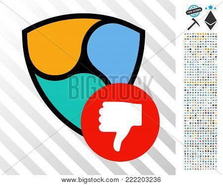 Nem Thumb Down pictograph with 700 bonus bitcoin mining and blockchain design elements. Vector illustration style is flat iconic symbols design for crypto currency websites.