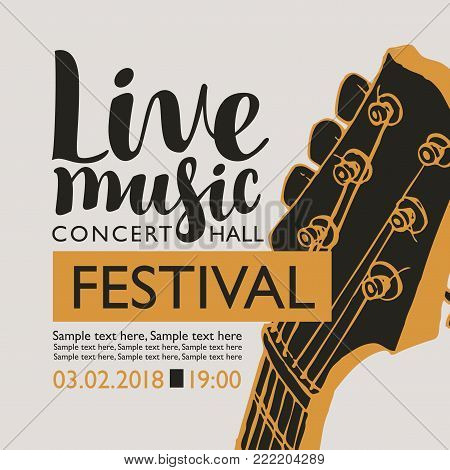 Vector banner for a music festival with the inscription Live music, neck of the guitar and place for text in retro style