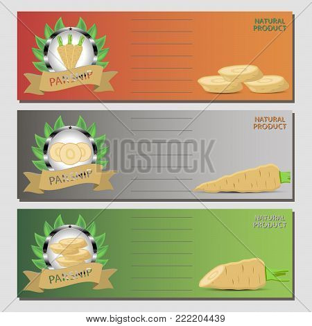 Abstract vector icon illustration logo for whole ripe vegetable yellow parsnip, sliced carrot on background. Parsnip pattern consisting of label vegetables, raw sweet food carrots. Eat fresh parsnips.