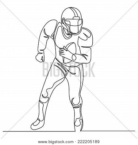 Continuous Line Drawing American Football Player. vector illustration.