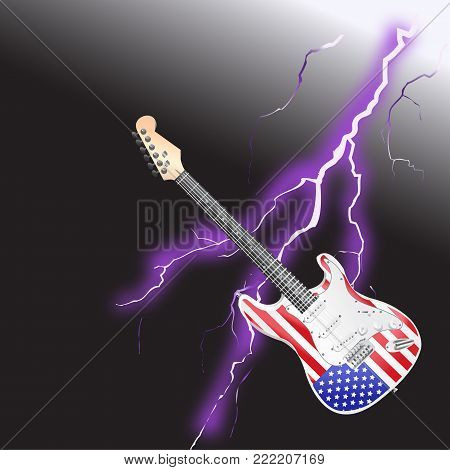 American Rock and Roll Guitar with Realistic lightning on black background