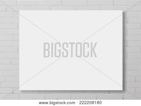 Horizontal white thin photo frame with. Frame picture or certificate. Vector Blanket or mocap for interior prints. A blank sub-frame canvas painting