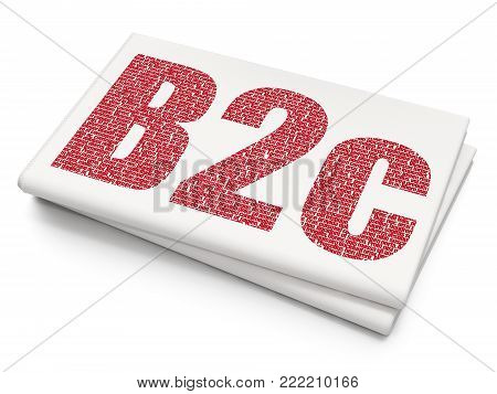 Business concept: Pixelated red text B2c on Blank Newspaper background, 3D rendering poster