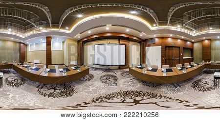 Minsk, Belarus - July 27, 2017: 360 Panorama View In Modern Empty Conference Hall For Business Meeti