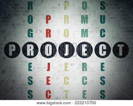 Finance concept: Painted black word Project in solving Crossword Puzzle on Digital Data Paper background