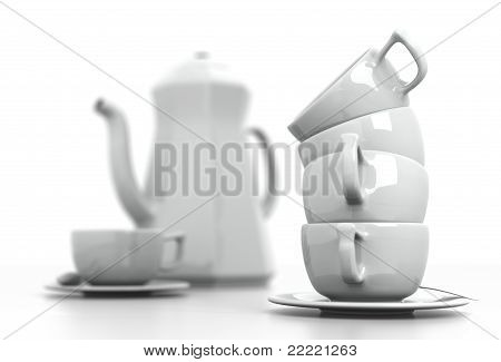 Stacked Cups and Coffee Set