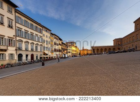 The ancient famous medieval square Pitti. Florence. Italy