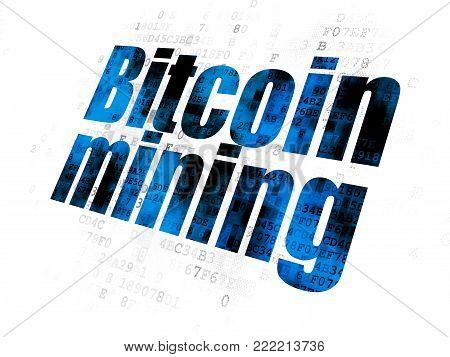Blockchain concept: Pixelated blue text Bitcoin Mining on Digital background