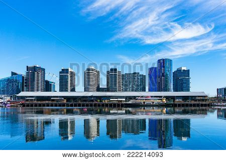 NewQuay neighbourhood with water front property and Central Pier. Melbourne, Australia